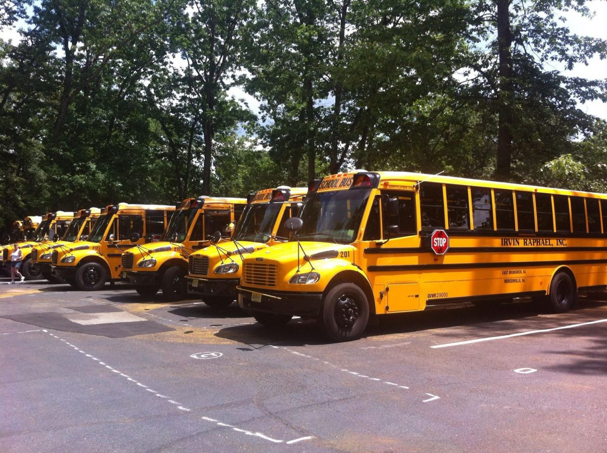 Seeral buses lined up in parking lot with trees in the background.