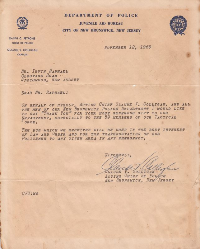 Letter of appreciation from Police Department from 1969